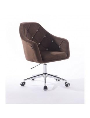 Blerm glat – krzesło kosmetyczne brązowe kółka