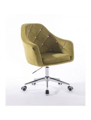 Krzesło kosmetyczne BLERM CRISTAL z kryształkami, oliwkowe - kółka