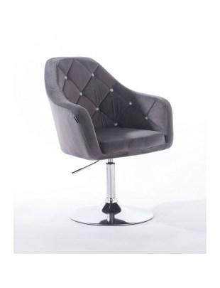 BLERM CRISTAL - Krzesło kosmetyczne z kryształkami grafitowe WYBÓR PODSTAW