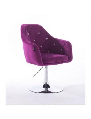 BLERM CRISTAL - Krzesło kosmetyczne fuksja z kryształkami WYBÓR PODSTAW