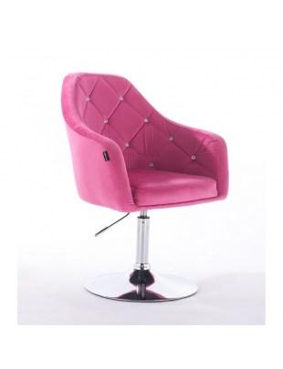 BLERM CRISTAL - Krzesło kosmetyczne malinowe z kryształkami WYBÓR PODSTAW