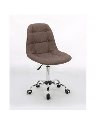 Inga - Krzesło kosmetyczne tapicerowane mokka, chrom, kółka