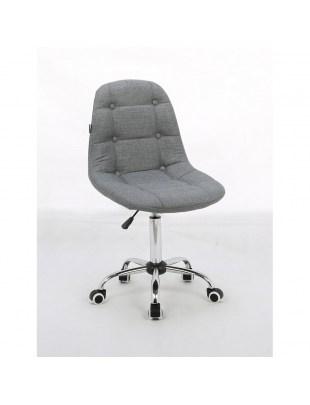 Inga - Krzesło kosmetyczne tapicerowane popielate, chrom, kółka