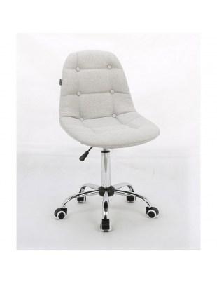 Inga - Krzesło kosmetyczne tapicerowane jasny popiel, chrom, kółka
