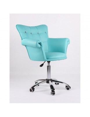 LORA CRISTAL - Fotel fryzjerski turkusowy, kółka