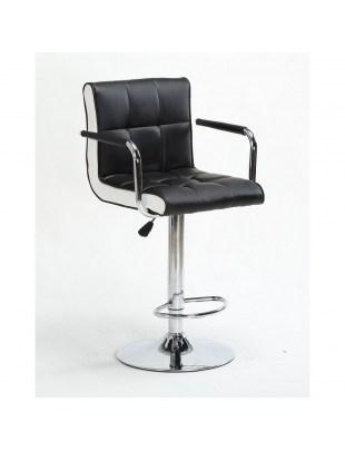 FLORENCE - Hoker fryzjerski czarny, z podnóżkiem, dysk