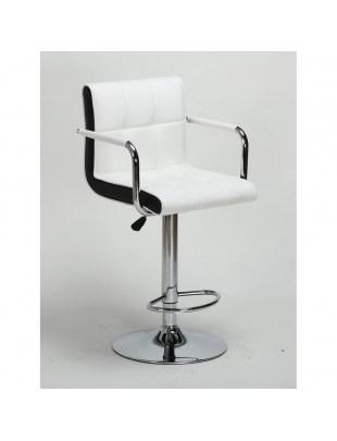 FLORENCE - Hoker fryzjerski biały, z podnóżkiem, dysk