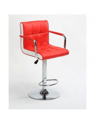 FLORENCE - Hoker kfryzjerski czerwony, z podnóżkiem, dysk