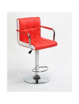 FLORENCE - Hoker fryzjerski czerwony, z podnóżkiem, dysk