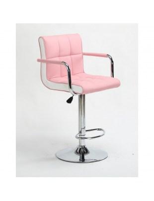 FLORENCE - Hoker fryzjerski różowy, z podnóżkiem, dysk