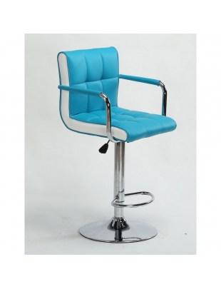 FLORENCE - Hoker fryzjerski turkusowy, z podnóżkiem, dysk