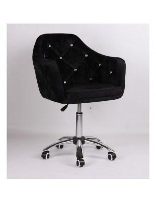 Blerm - Krzesło kosmetyczne czarny welur