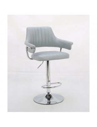 Capitol - Krzesło fryzjerskie szare z podnóżkiem