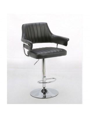Capitol - Krzesło fryzjerskie czarne z podnóżkiem