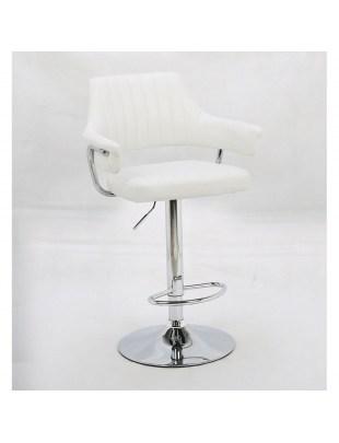 Capitol - Krzesło fryzjerskie białe z podnóżkiem
