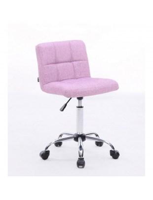 Lasgo - Krzesło fryzjerskie tapicerowane pudrowe, kółka