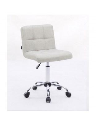 Lasgo - Krzesło fryzjerskie tapicerowane jasno szare, kółka