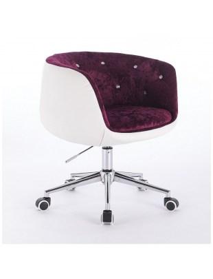 BARDO - Krzesło kosmetyczne fioletowo-białe, welur