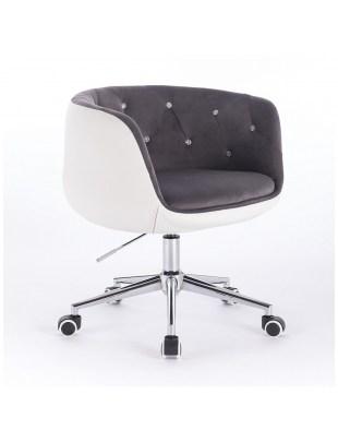 BARDO - Krzesło kosmetyczne szaro-białe, welur