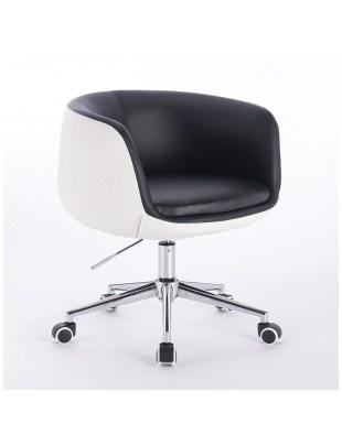 BARDO - Fotel fryzjerski czarno-biały