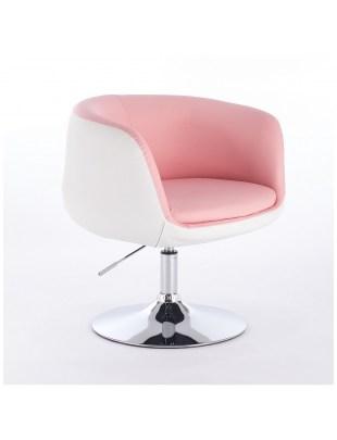 BARDO - Fotel fryzjerski różowo-biały