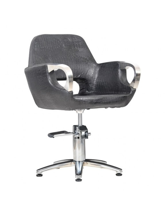 Fotel fryzjerski Mediolan Steel czarny krokodyl mat