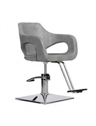 Bresso - Fotel fryzjerski grafitowy krokodyl
