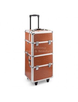 Kufer Fryzjersko - Kosmetyczny MAX - BROWN CROCODILE