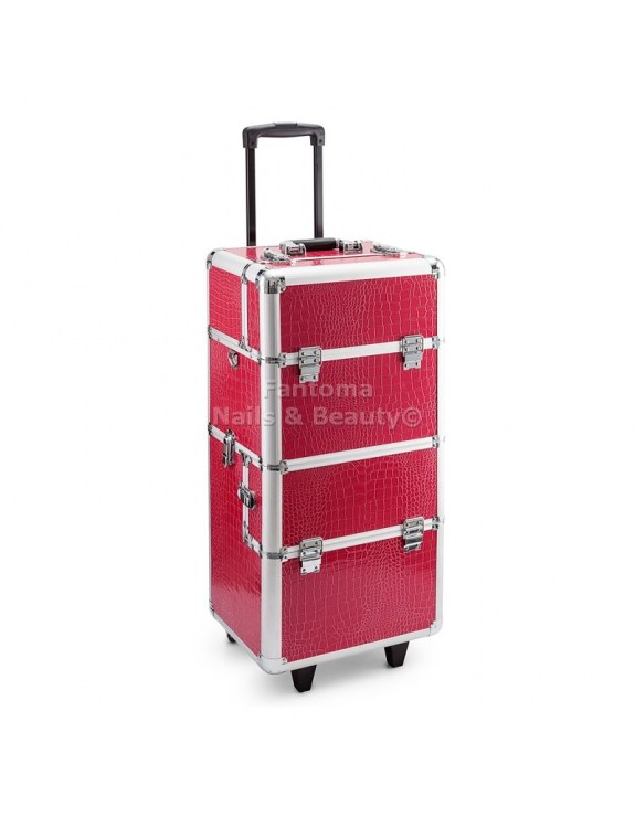 Kufer Fryzjersko - Kosmetyczny MAX - PINK CROCODILE