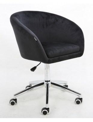 Cassie - Fotel czarny kółka chrom