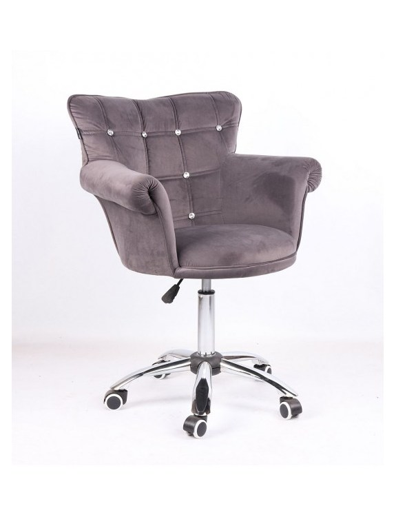 LORA CRISTAL - Fotel fryzjerski grafitowy, kółka