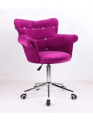 LORA CRISTAL - Krzesło kosmetyczne fuksja, kółka