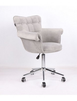 LORA CRISTAL - Fotel fryzjerski stalowy, kółka