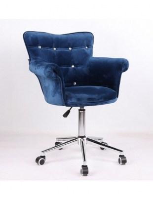 LORA CRISTAL - Krzesło kosmetyczne ciemne morze, kółka
