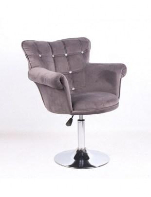LORA CRISTAL - Fotel fryzjerski grafitowy, dysk