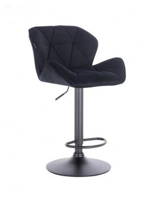 Bret – krzesło kosmetyczne tapicerowane czarne podstawa dysk z podnóżkiem