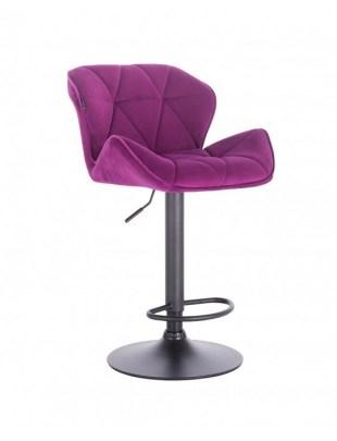 Bret – krzesło kosmetyczne tapicerowane fioletowe podstawa dysk z podnóżkiem