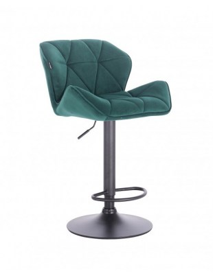 Bret – krzesło kosmetyczne tapicerowane butelkowa zielń podstawa dysk z podnóżkiem