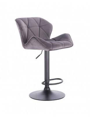 Petyr – krzesło kosmetyczne tapicerowane grafitowe podstawa dysk z podnóżkiem