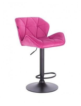 Bret – krzesło kosmetyczne tapicerowane malinowe podstawa dysk z podnóżkiem