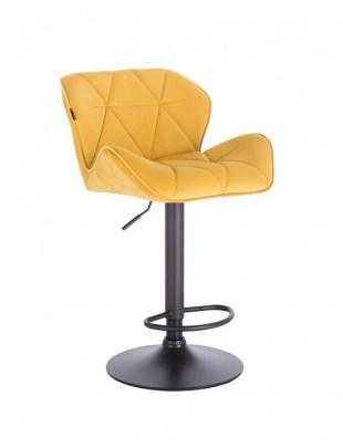 Bret – krzesło kosmetyczne tapicerowane żółte podstawa dysk z podnóżkiem