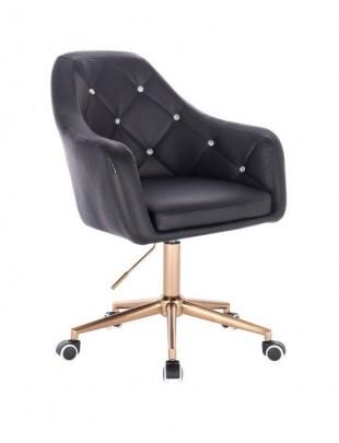 BLINK HR  - Fotel fryzjerski czrany, złota podstawa kółka