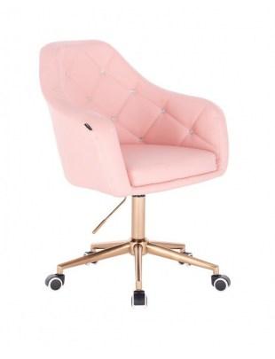 Blink HR - fotel fryzjerski różowa skóra podstawa złota