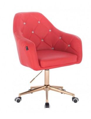 Blink - fotel fryzjerski czerwona skóra podstawa złota