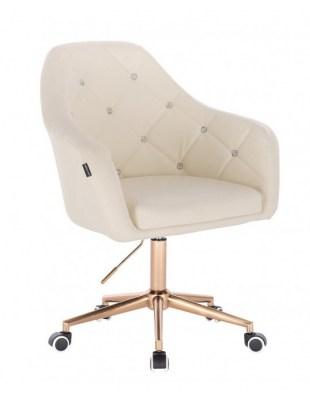 Blink HR - fotel fryzjerski kremowa skóra podstawa złota
