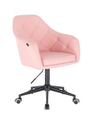Blink HR - fotel fryzjerski różowa skóra podstawa czarna