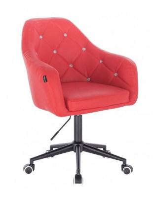 Blink - fotel fryzjerski czerwona skóra podstawa czarna