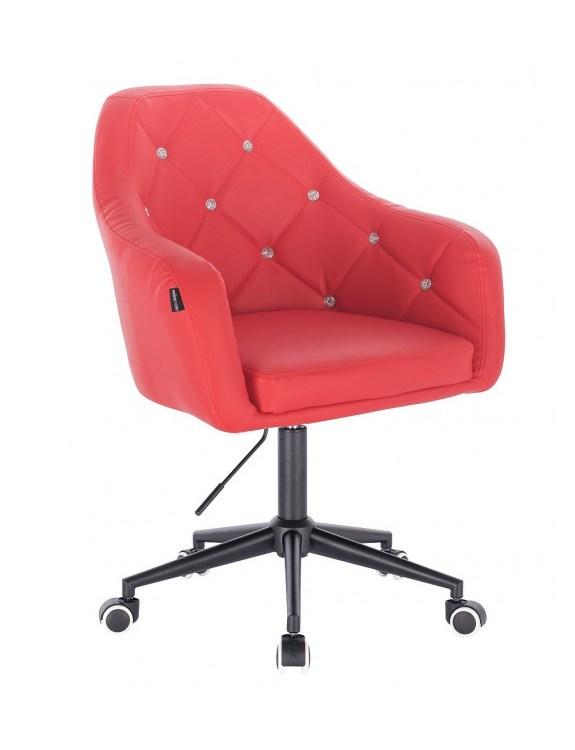 Blink HR - fotel fryzjerski czerwona skóra podstawa czarna