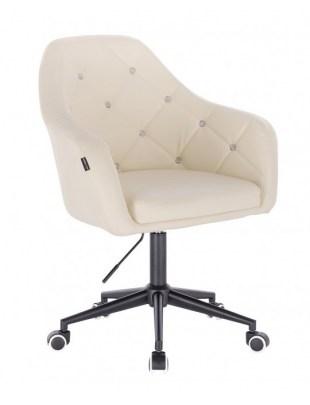 Blink HR - fotel fryzjerski kremowa skóra podstawa czarna