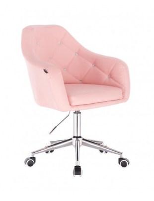 Blink HR - fotel fryzjerski różowa skóra podstawa chrom